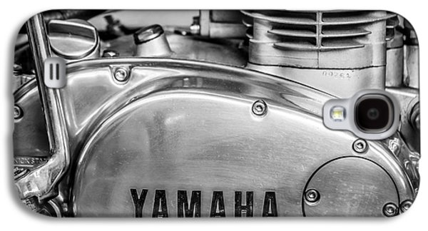 Yamaha Racing Bike Engine Kick Start - Square - Black And White Galaxy S4 Case by Ian Monk