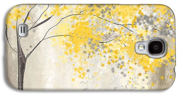 Yellow And Gray Tree Galaxy S4 Case