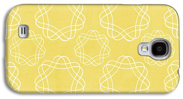 Yellow And White Geometric Floral  Galaxy S4 Case