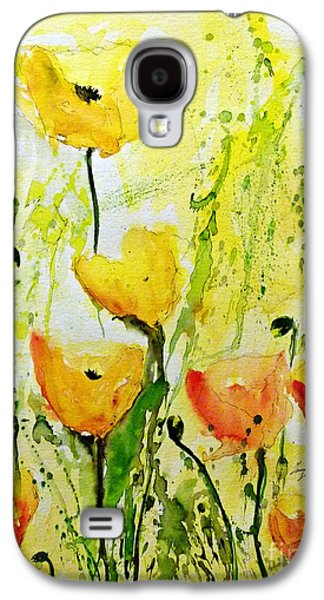 Yellow Poppys - Abstract Floral Painting Galaxy S4 Case by Ismeta Gruenwald
