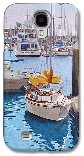 Boat Galaxy S4 Case - Yellow Sailboat Oceanside by Mary Helmreich