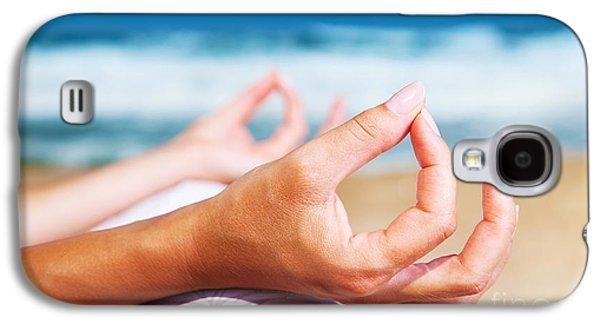 Yoga Meditation On The Beach Galaxy S4 Case by Anna Om