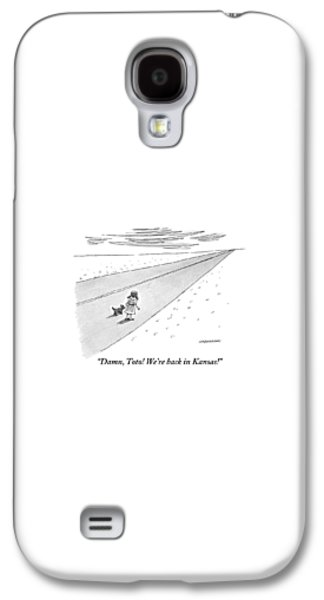 Wizard Galaxy S4 Case - Young Dorothy Stands With Little Dog On A Long by Mick Stevens