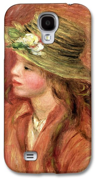 Young Girl In A Straw Hat Galaxy S4 Case by Pierre Auguste Renoir