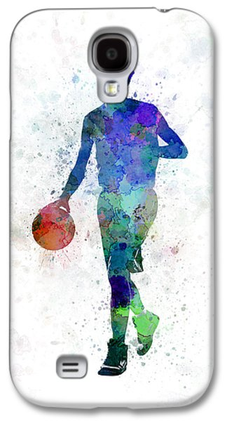 Young Man Basketball Player Dribbling  Galaxy S4 Case