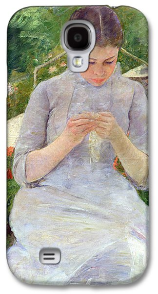 Young Woman Sewing In The Garden Galaxy S4 Case