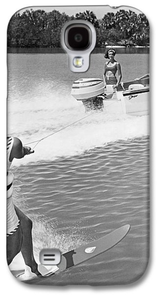 Young Woman Slalom Water Skis Galaxy S4 Case