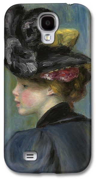 Young Woman With Black Hat Galaxy S4 Case by Pierre Auguste Renoir