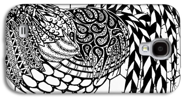 Zentangle Rooster Galaxy S4 Case by Jani Freimann