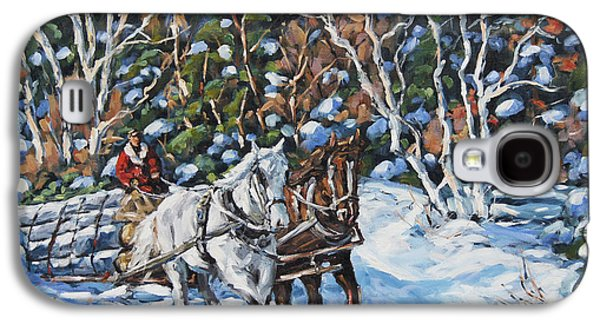 Horses Hauling Wood In Winter By Prankearts Galaxy S4 Case by Richard T Pranke