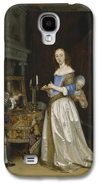 Lady At Her Toilette Galaxy S4 Case by Gerard ter Borch