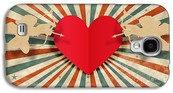 Heart And Cupid With Ray Background Galaxy S4 Case by Setsiri Silapasuwanchai