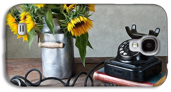 Sunflowers And Phone Galaxy S4 Case by Nailia Schwarz