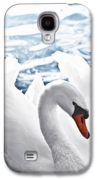 White Swan On Water Galaxy S4 Case by Elena Elisseeva