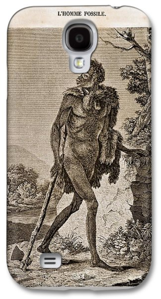 1838 Cave Man Engraving 'l'homme Fossile' Galaxy S4 Case by Paul D Stewart