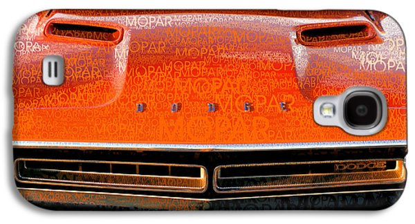 1971 Dodge Challenger - Orange Mopar Typography - Mp002 Galaxy S4 Case by Gordon Dean II
