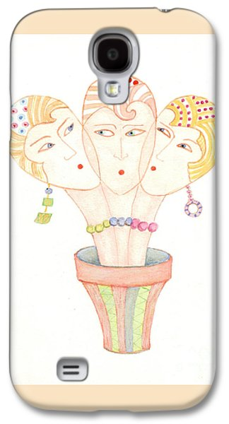Galaxy S4 Case featuring the painting Flower Pot Ladies by Nareeta Martin