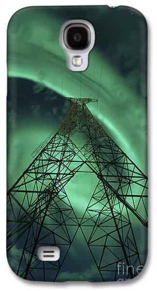 Powerlines And Aurora Borealis Galaxy S4 Case by Arild Heitmann