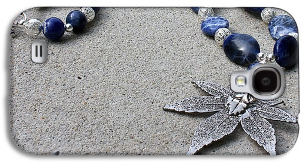3593 Sodalite And Silver Necklace With Japanese Maple Leaf Pendant  Galaxy S4 Case