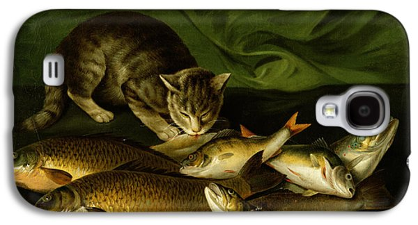 A Cat With Trout Perch And Carp On A Ledge Galaxy S4 Case by Stephen Elmer