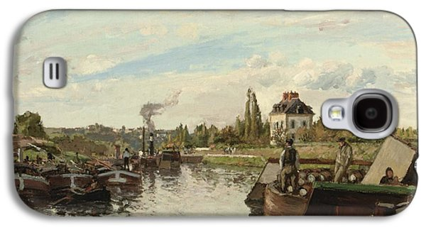 Barge On The Seine At Bougival Galaxy S4 Case by Camille Pissarro