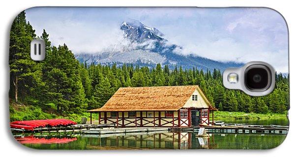 Boathouse On Mountain Lake Galaxy S4 Case by Elena Elisseeva