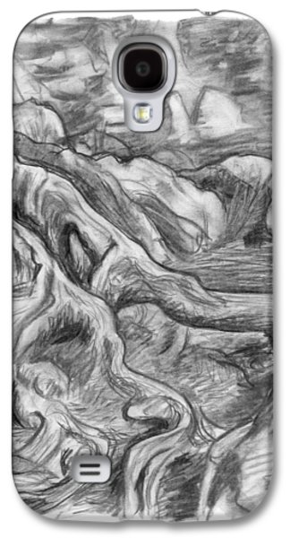 Charcoal Drawing Of Gnarled Pine Tree Roots In Swampy Area Galaxy S4 Case by Adam Long