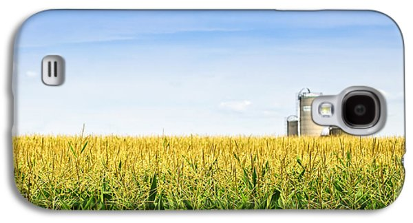 Vegetables Galaxy S4 Case - Corn Field With Silos by Elena Elisseeva