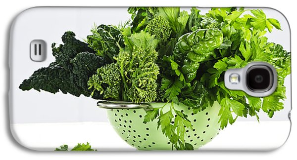 Broccoli Galaxy S4 Case - Dark Green Leafy Vegetables In Colander by Elena Elisseeva