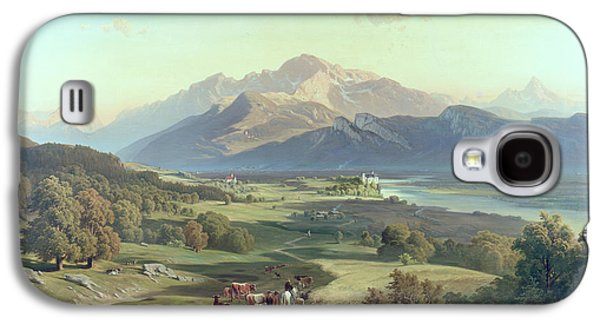 Drover On Horseback With His Cattle In A Mountainous Landscape With Schloss Anif Salzburg And Beyond Galaxy S4 Case by Josef Mayburger