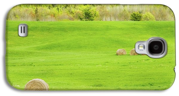Dry Hay Bales In Spring Farm Field Maine Photo Galaxy S4 Case by Keith Webber Jr