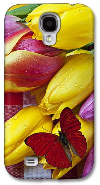 Fresh Tulips And Red Butterfly Galaxy S4 Case