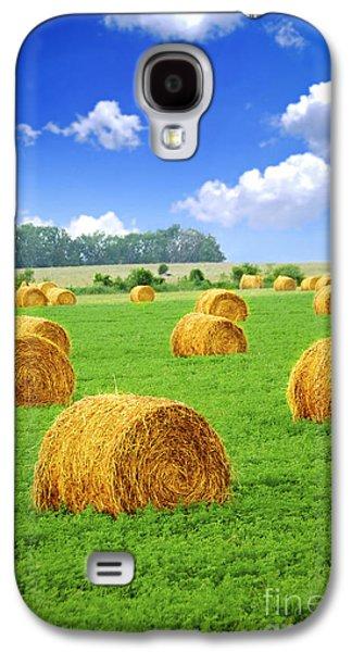 Golden Hay Bales In Green Field Galaxy S4 Case by Elena Elisseeva
