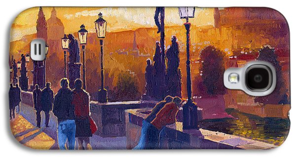 Golden Prague Charles Bridge Sunset Galaxy S4 Case by Yuriy  Shevchuk