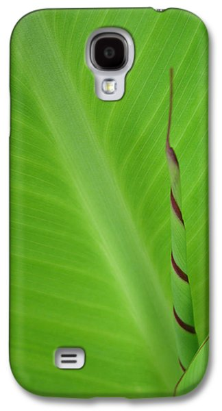 Green Leaf With Spiral New Growth Galaxy S4 Case by Nikki Marie Smith