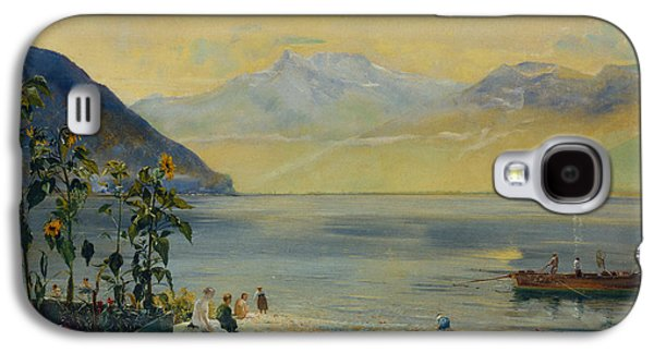 Lake Leman With The Dents Du Midi In The Distance Galaxy S4 Case by John William Inchbold