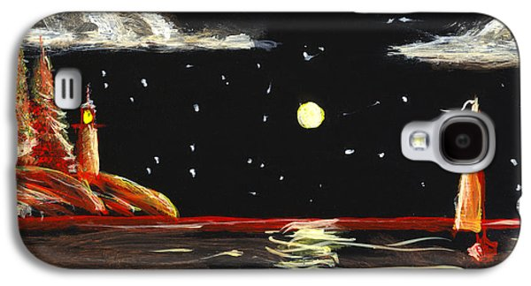 Lighthouse And Sailboat Painting Full Moon Art Galaxy S4 Case