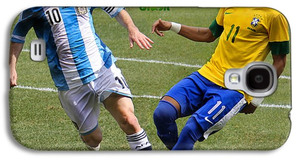 Lionel Messi And Neymar Clash Of The Titans Fifa World Cup 2014 II Galaxy S4 Case by Lee Dos Santos