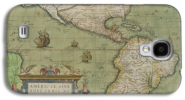 Map Of North And South America Galaxy S4 Case by Abraham Ortelius