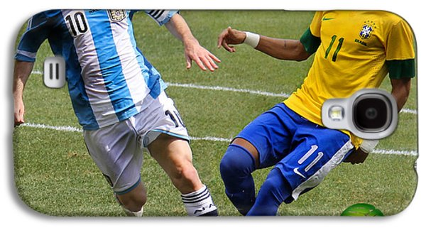 Messi And Neymar Clash Of The Titans World Cup 2014 Galaxy S4 Case by Lee Dos Santos