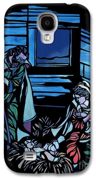 Nativity Stained Glass Galaxy S4 Case by Methune Hively