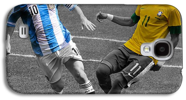Neymar And Lionel Messi Clash Of The Titans Black And White Galaxy S4 Case by Lee Dos Santos