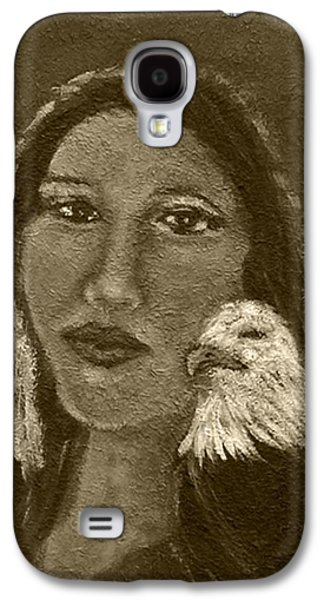 Onawa Native American Woman Of Wisdom With Eagle In Sepia Galaxy S4 Case by The Art With A Heart By Charlotte Phillips