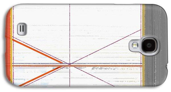 Orange Triangles With Grey Galaxy S4 Case by Naxart Studio