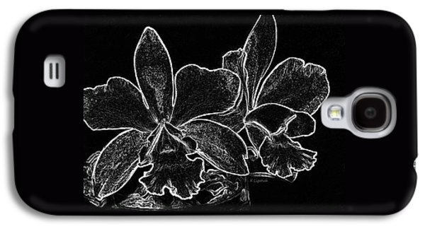 Orchids - Black And White Abstract Galaxy S4 Case by Kerri Ligatich
