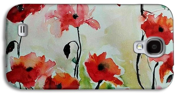 Poppies Meadow - Abstract Galaxy S4 Case by Ismeta Gruenwald