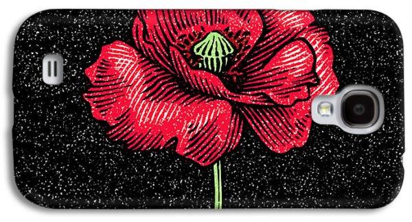 Poppy Flower, Woodcut Galaxy S4 Case