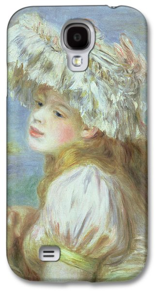Portrait Of A Young Woman In A Lace Hat Galaxy S4 Case by Pierre Auguste  Renoir