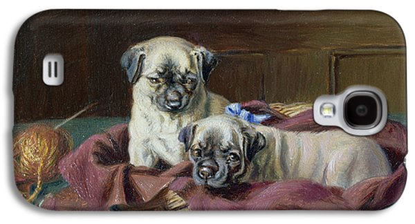Pug Puppies In A Basket Galaxy S4 Case by  Horatio Henry Couldery