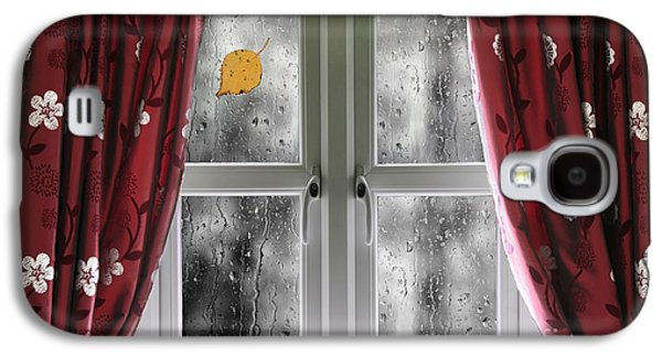 Rain On A Window With Curtains Galaxy S4 Case by Simon Bratt Photography LRPS